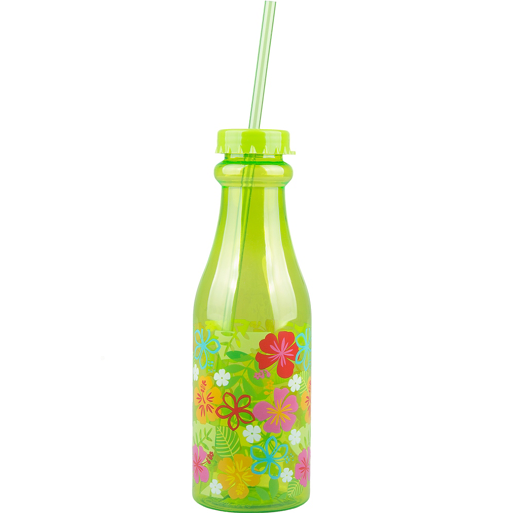 Green Hibiscus Plastic Soda Bottle Image #1