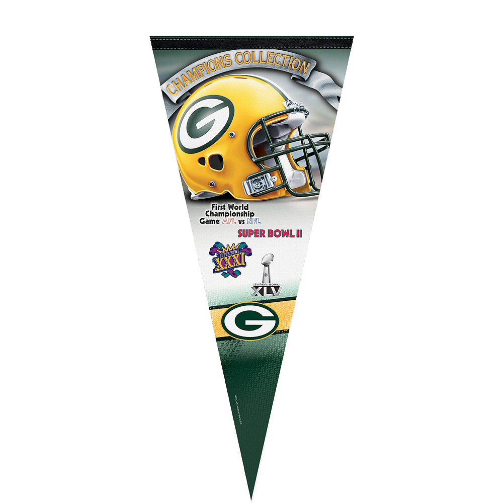 Premium Green Bay Packers 4X Super Bowl Champs Pennant Flag Image #1