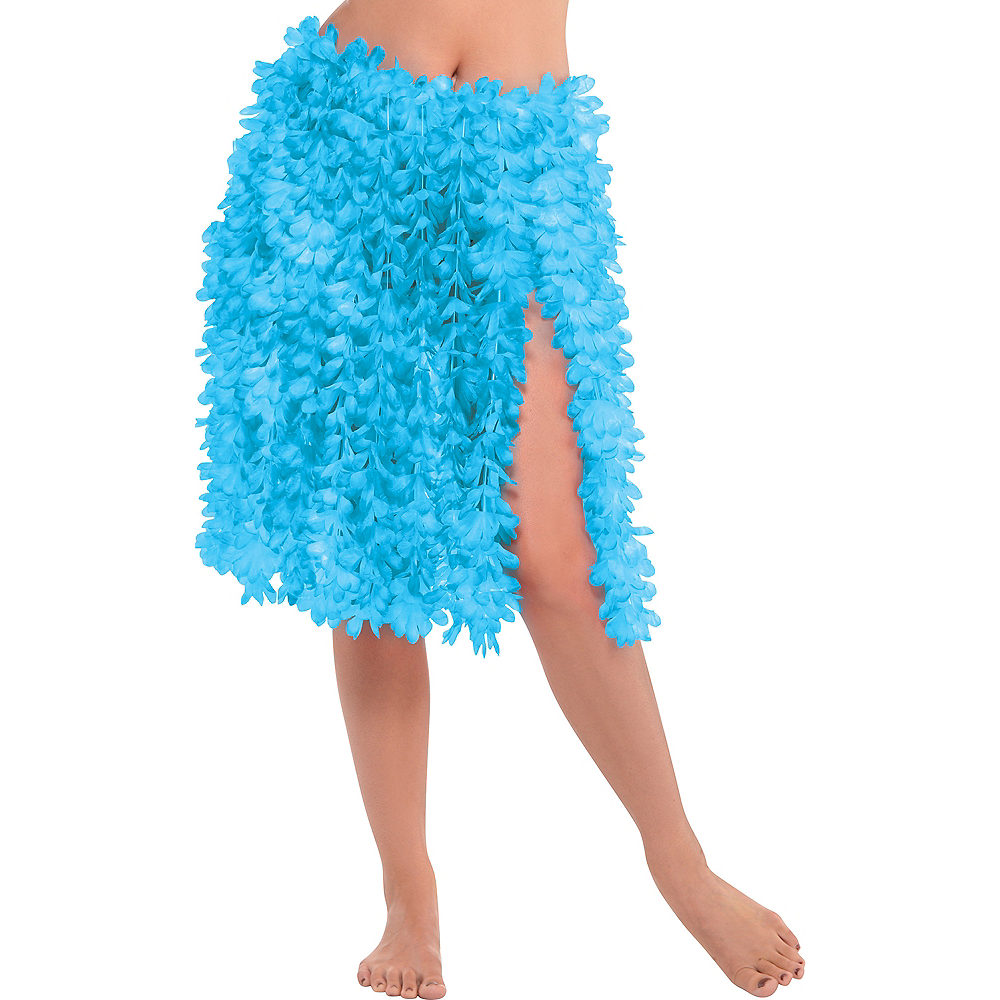 Nav Item for Blue Flower Lei Hula Skirt Image #1