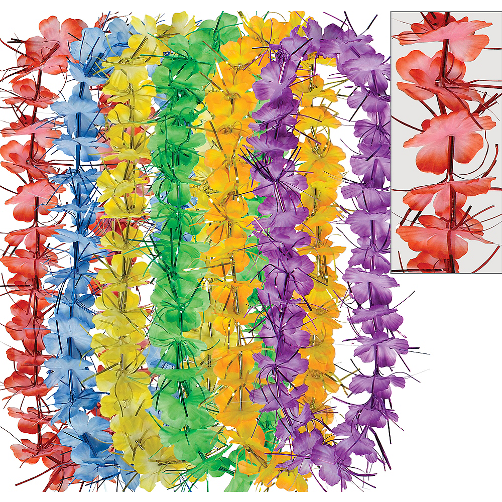 Colorful Tinsel Leis 6ct Image #1
