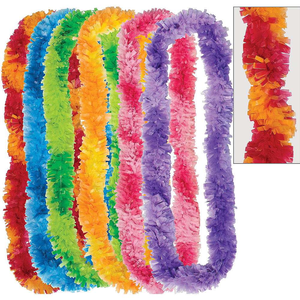 Colorful Two-Tone Fringe Leis 6ct Image #1