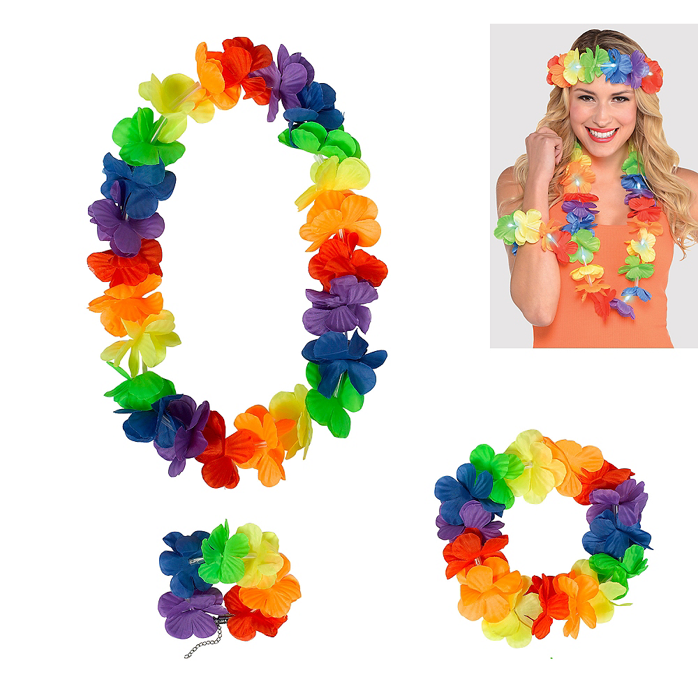 Rainbow Flower Lei Accessory Set 3pc Image #1