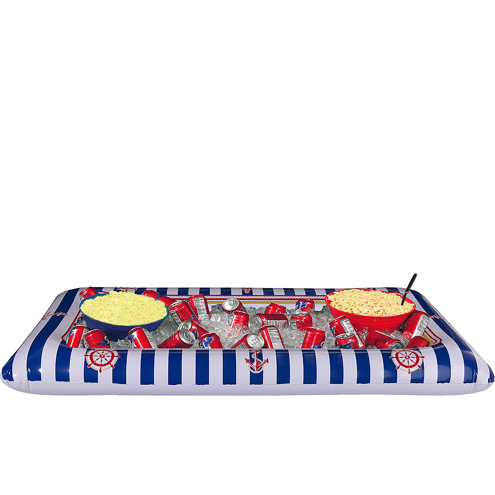 Inflatable Striped Nautical Buffet Cooler Image #1