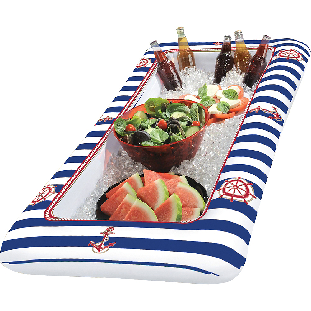 Inflatable Striped Nautical Buffet Cooler Image #2