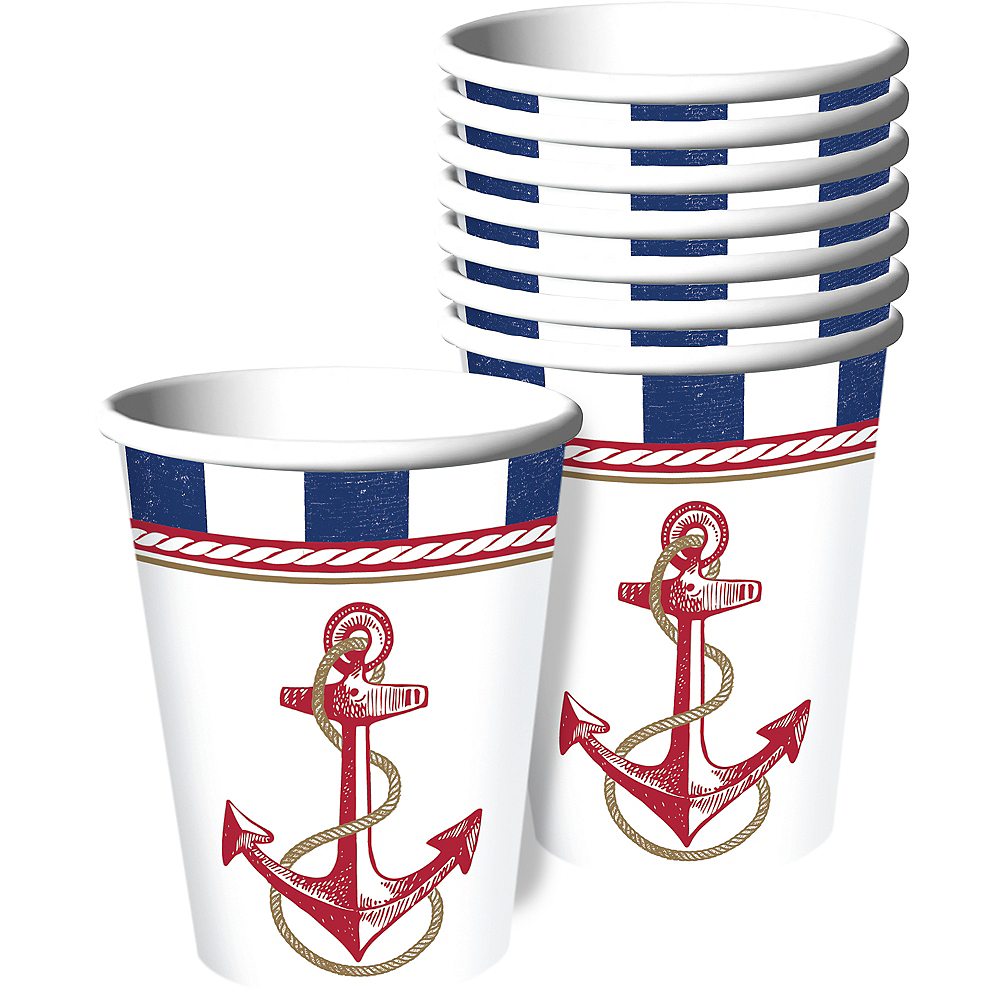 Striped Nautical Cups 8ct Image #1