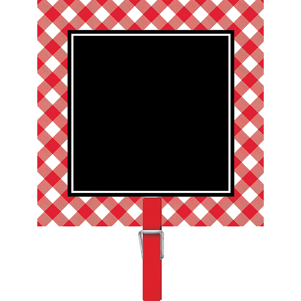 Picnic Party Red Gingham Chalkboard Clips 8ct Image #1