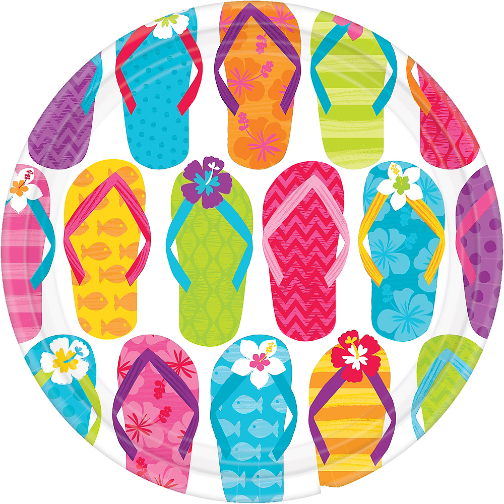 Bright Flip Flop Lunch Plates 60ct Image #1