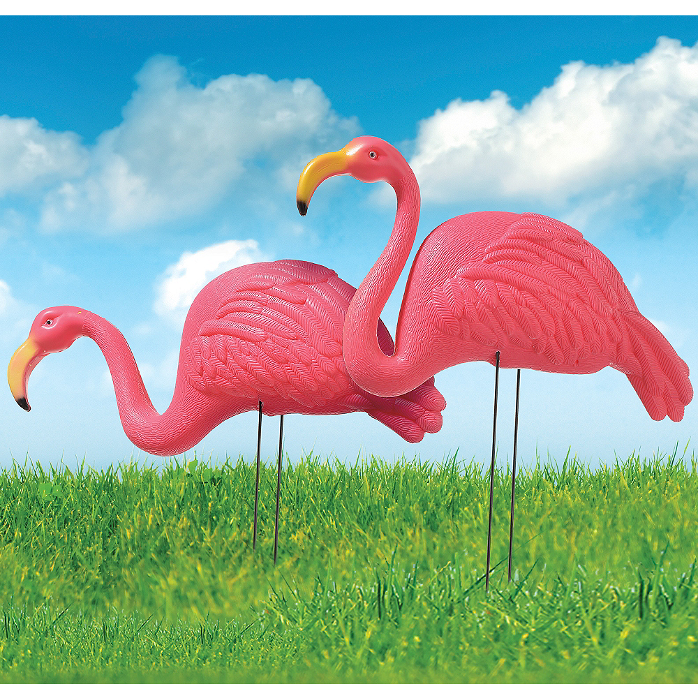 Nav Item for Pink Flamingo Yard Stakes 2ct Image #1