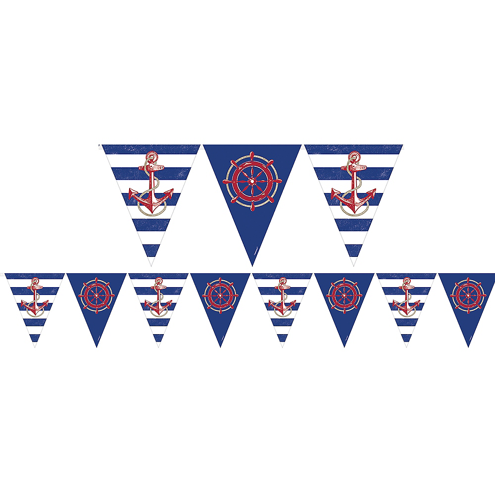 Striped Nautical Pennant Banner Image #1