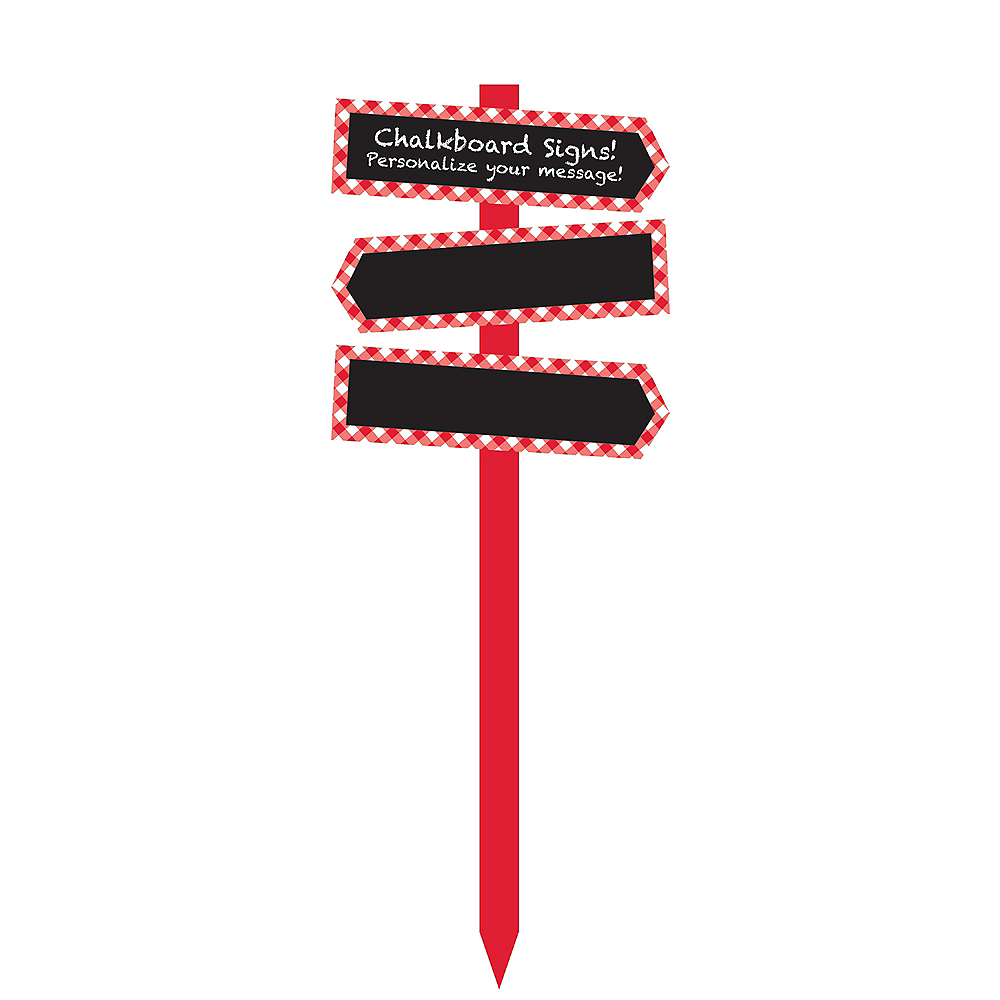Nav Item for Red Gingham Chalkboard Yard Stake Image #1