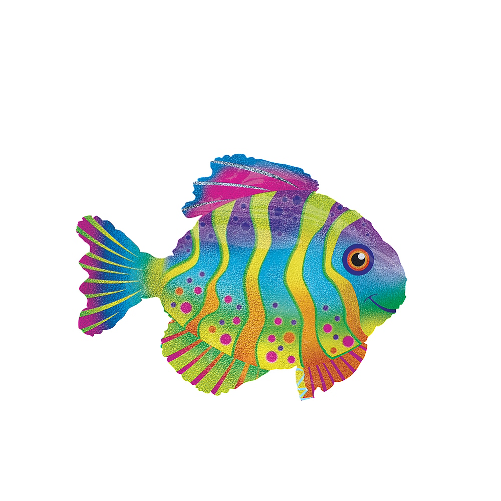 Giant Prismatic Colorful Fish Balloon, 33in Image #1