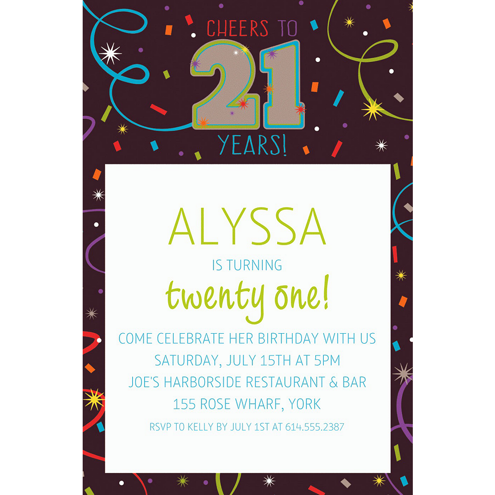 custom brilliant 21st birthday invitation party supplies party city