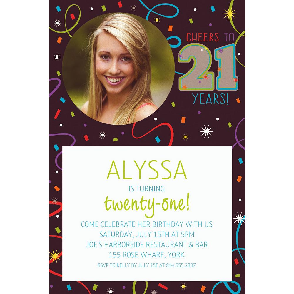 Custom Brilliant 21st Birthday Photo Invitation Image #1
