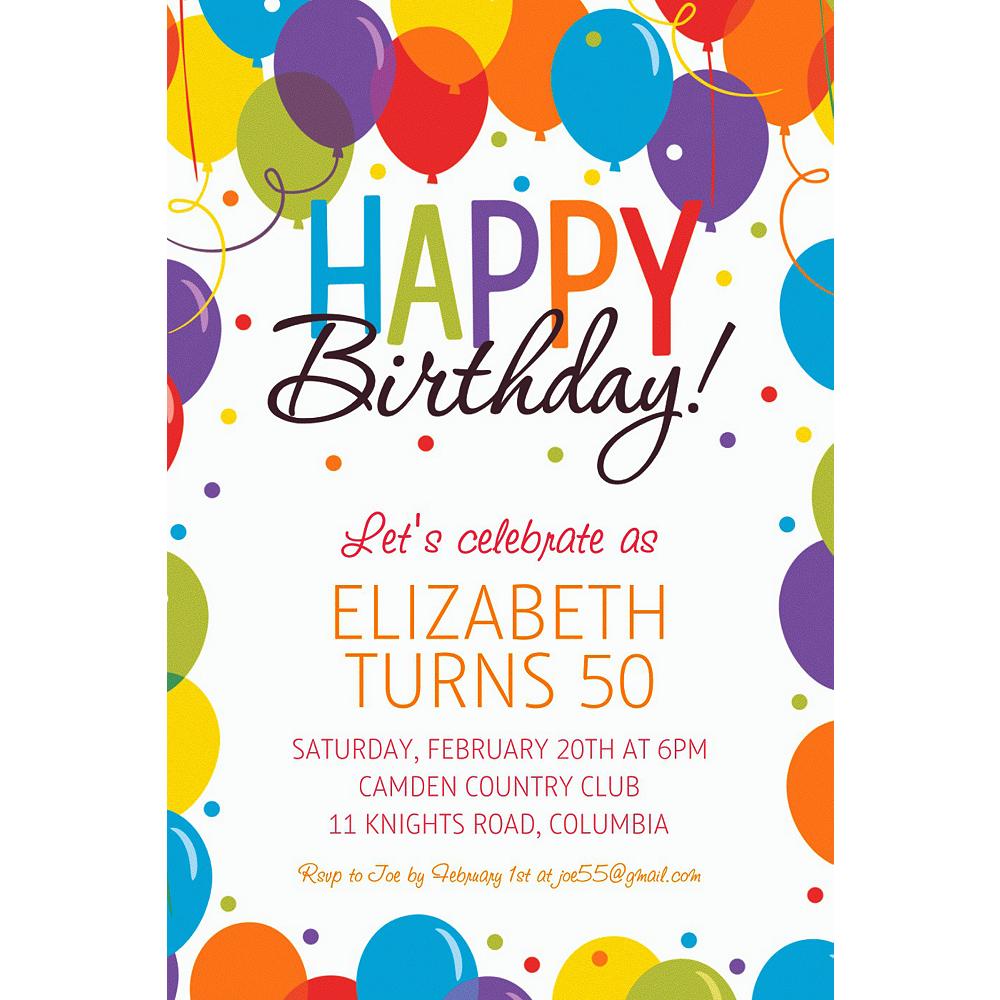 Custom Rainbow Balloon Bash Invitation | Party City