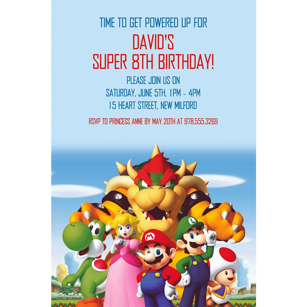 Custom Super Mario Invitation Party Supplies Party City