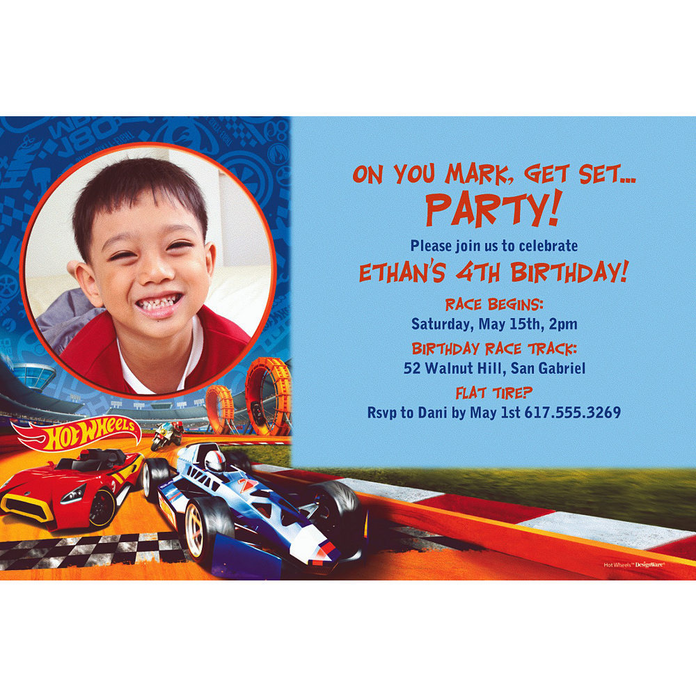 Custom Hot Wheels Wild Racer Photo Invitation Image 1
