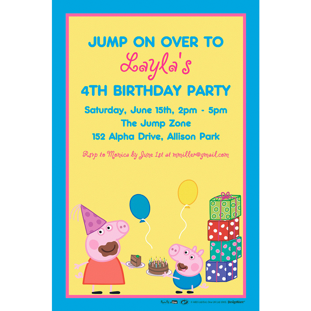 Custom Peppa Pig Invitation Image 1