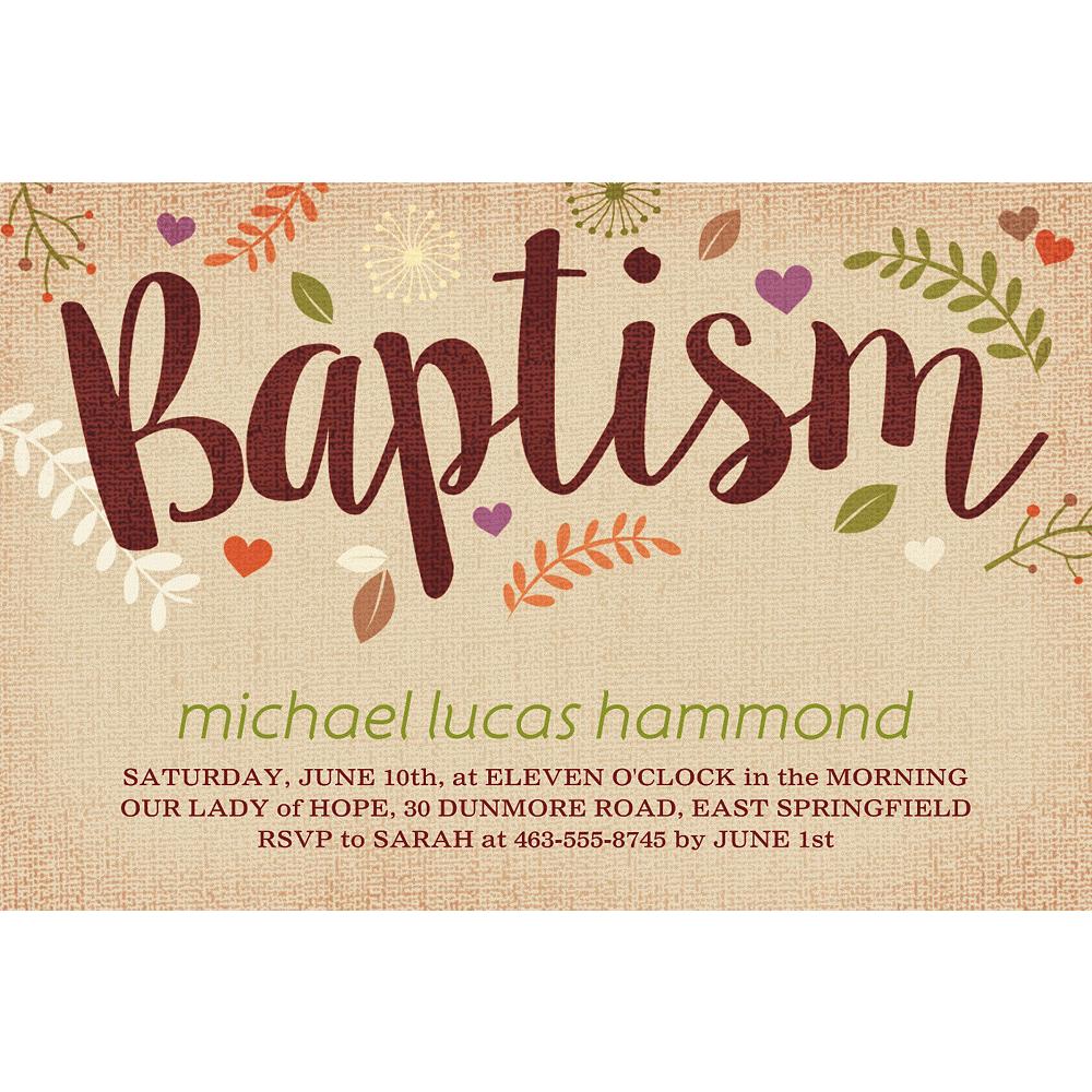 Custom Baptism Leaves Invitation