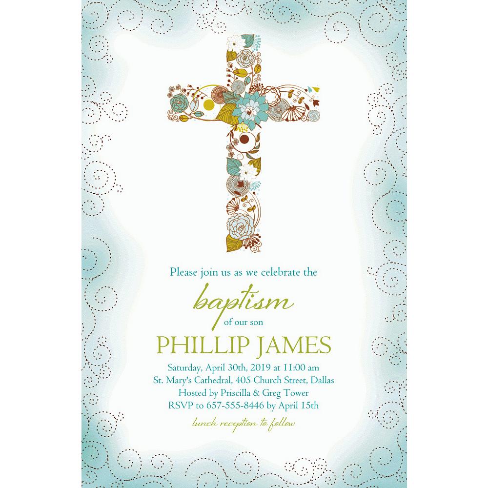 Custom Floral Cross Blue Invitation Image #1