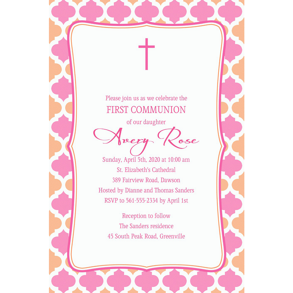 Custom Simple Cross & Diamonds Invitation Image #1