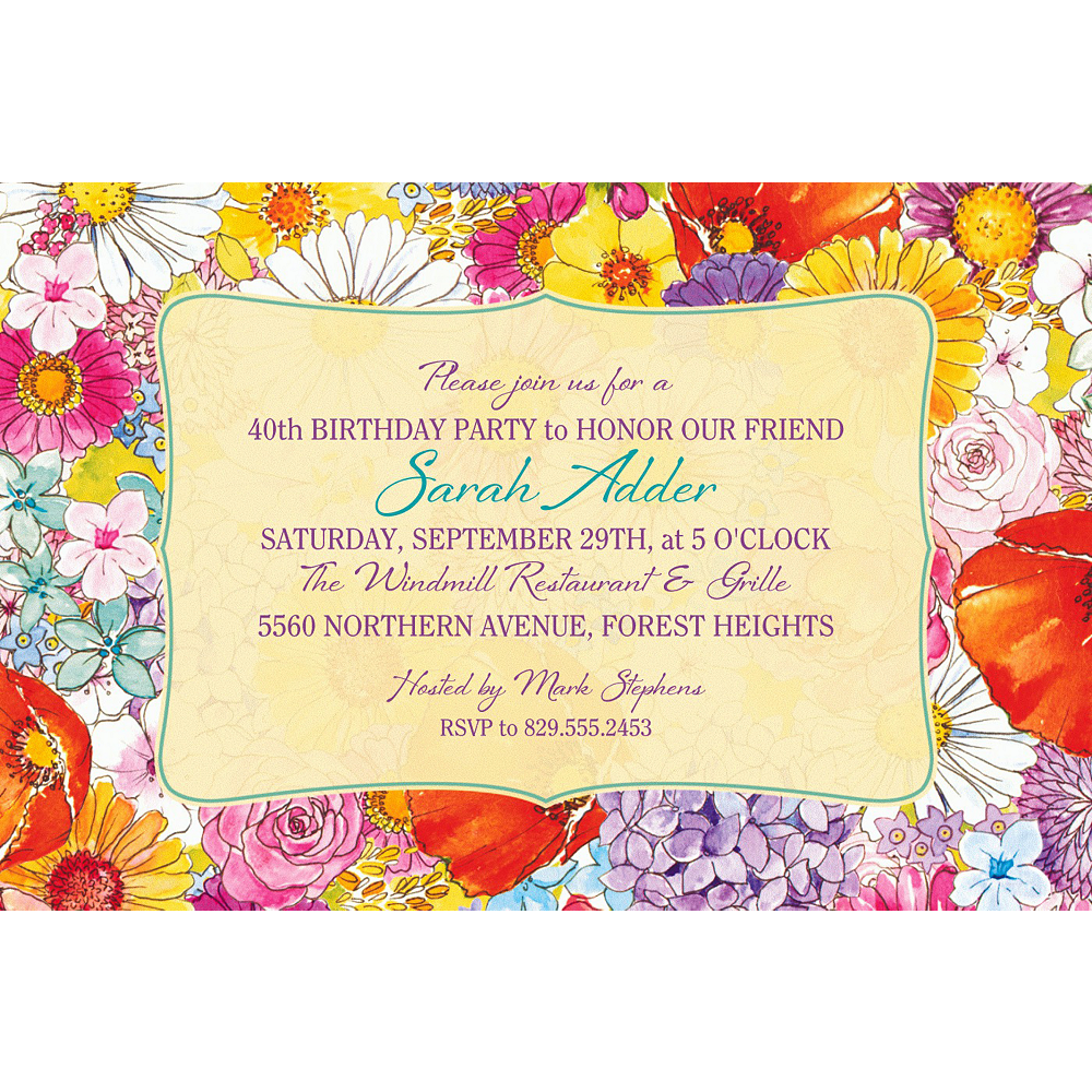 Custom Spring Garden Border Invitation Image #1