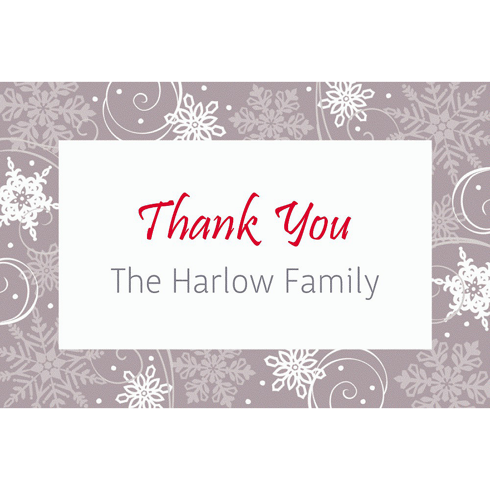 Custom Sparkling Snowflake Thank You Note Image #1