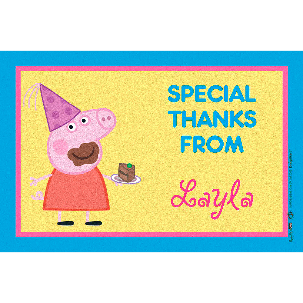 Custom Peppa Pig Thank You Note Image 1