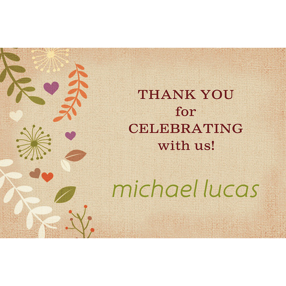 Custom Baptism Leaves Thank You Note Image #1