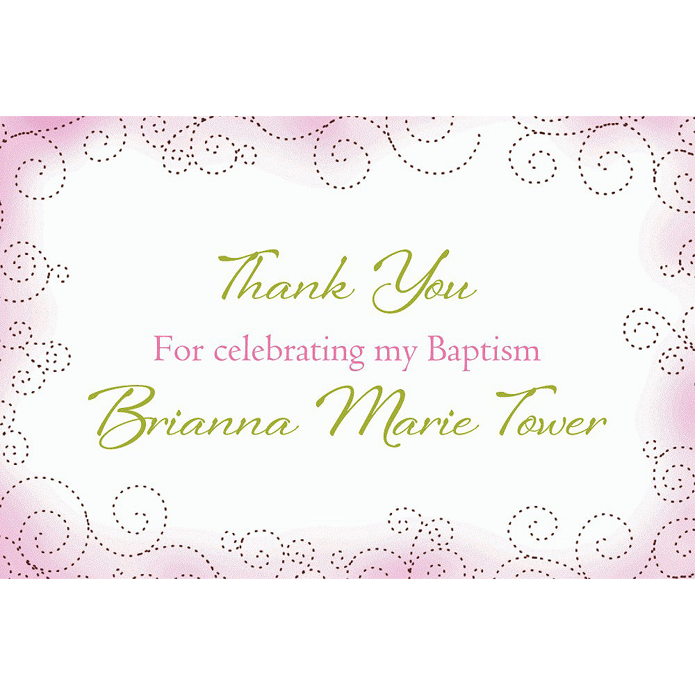 Custom Floral Cross Pink Thank You Note Image #1