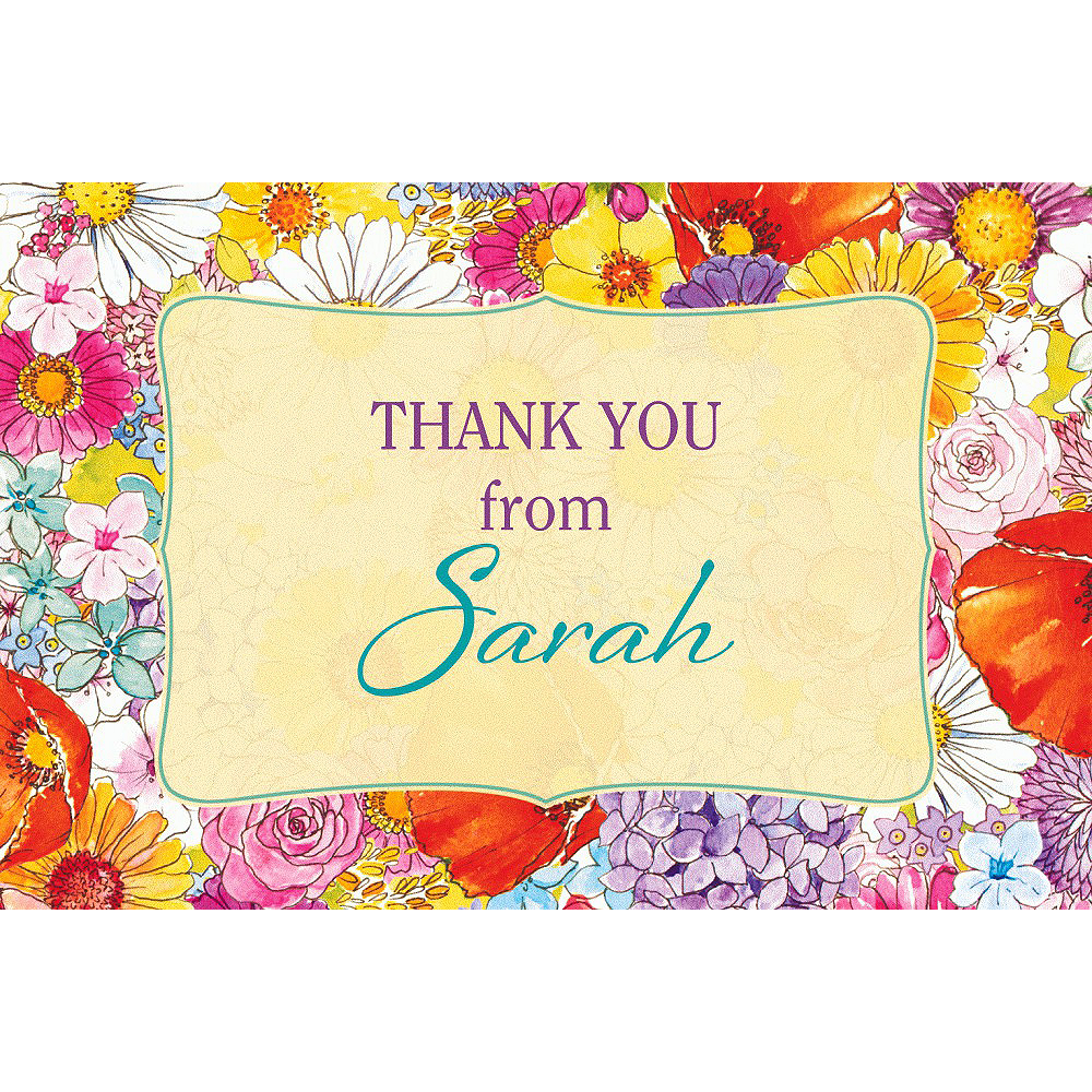 Custom Spring Garden Border Thank You Note  Image #1