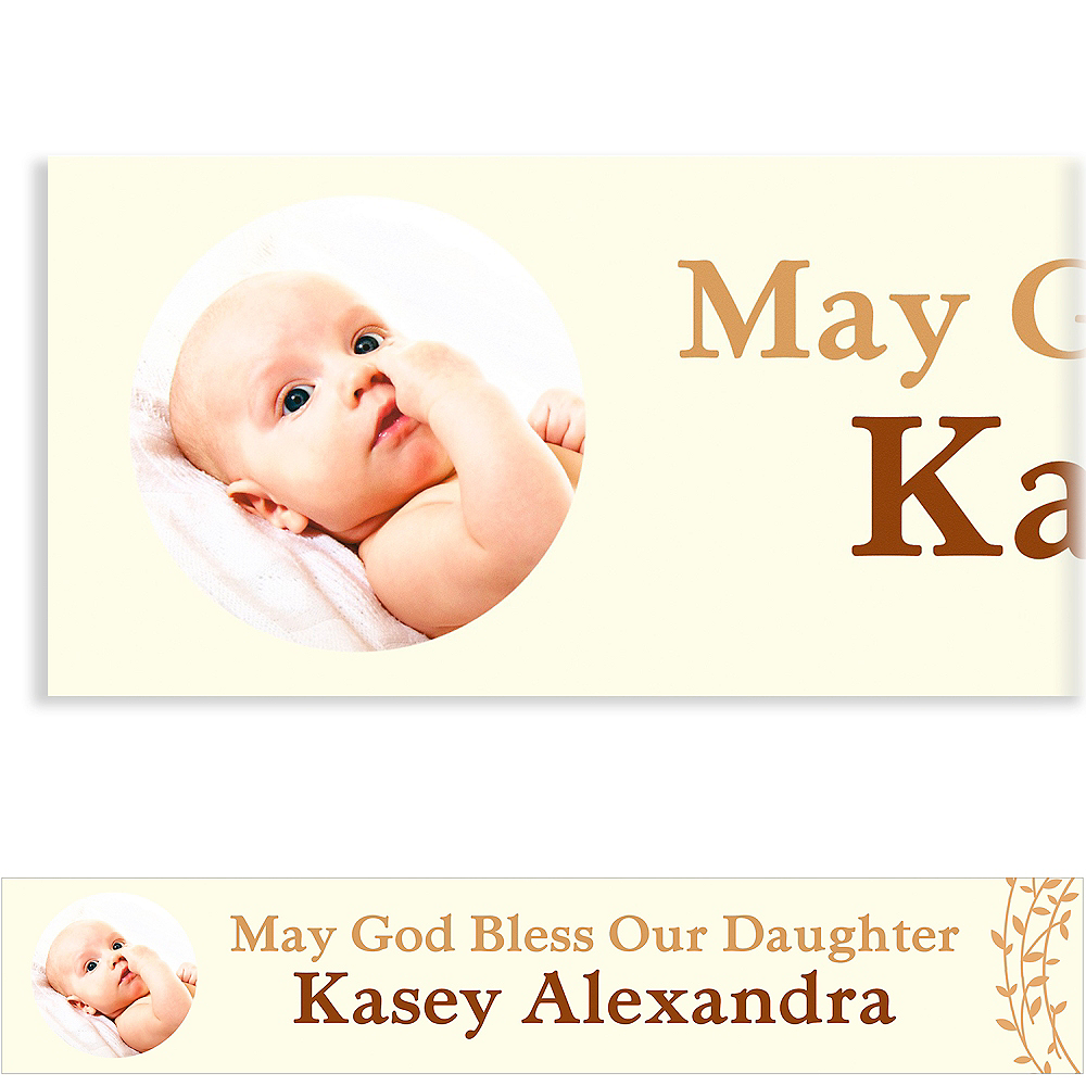 Custom Baptism Wreath Photo Banner Image #1