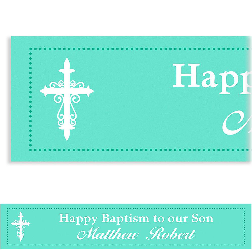 Custom Fancy Baptism Cross Teal Banner Image #1