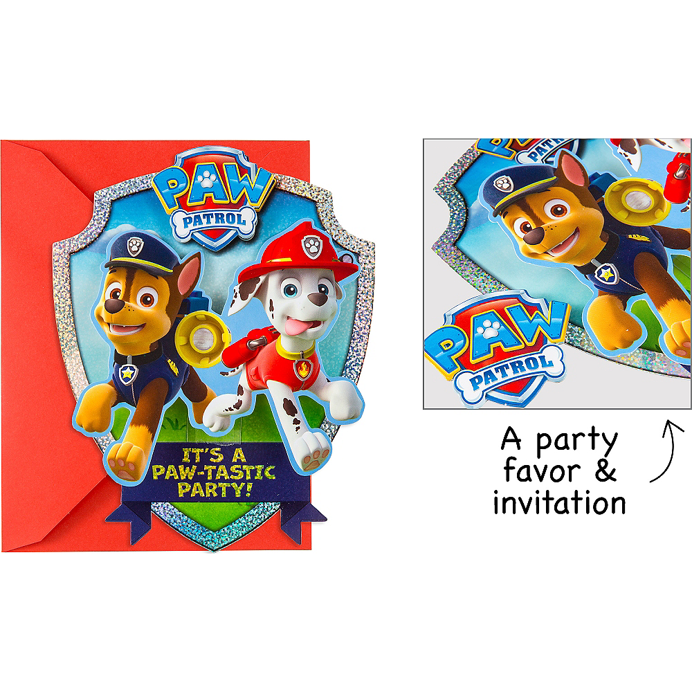 Premium Prismatic PAW Patrol Invitations with Badges 8ct Image #1