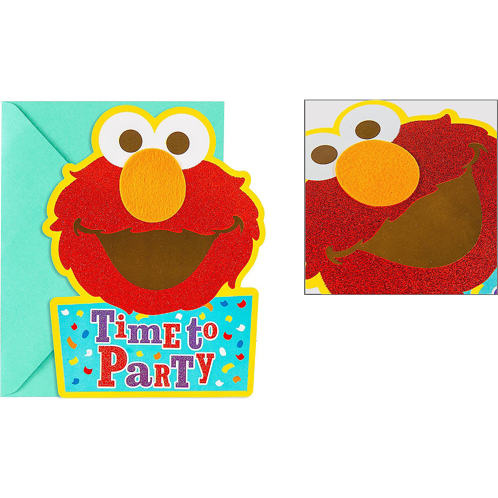 Premium Glitter Elmo Invitations 8ct Image #1