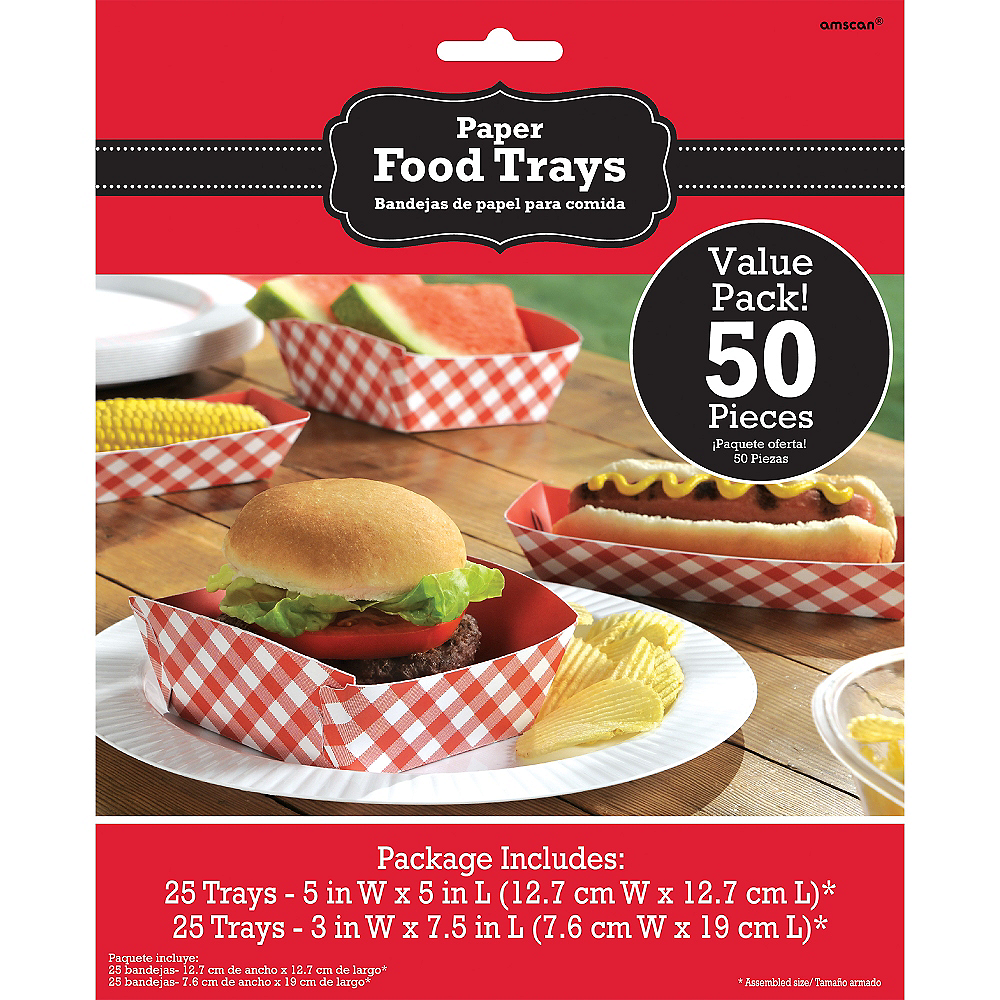 Picnic Party Red Gingham Paper Food Trays 50ct Image #2