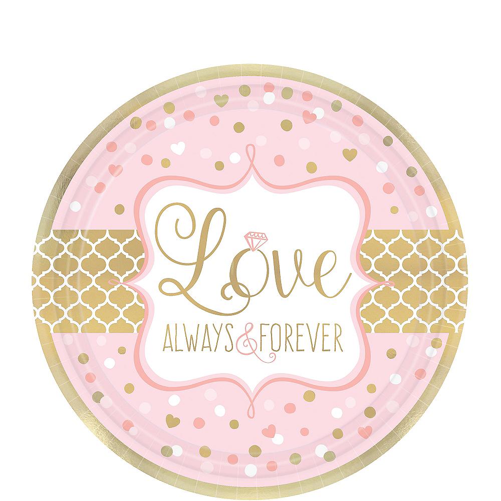Sparkling Pink Wedding Dessert Plates 8ct Image #1