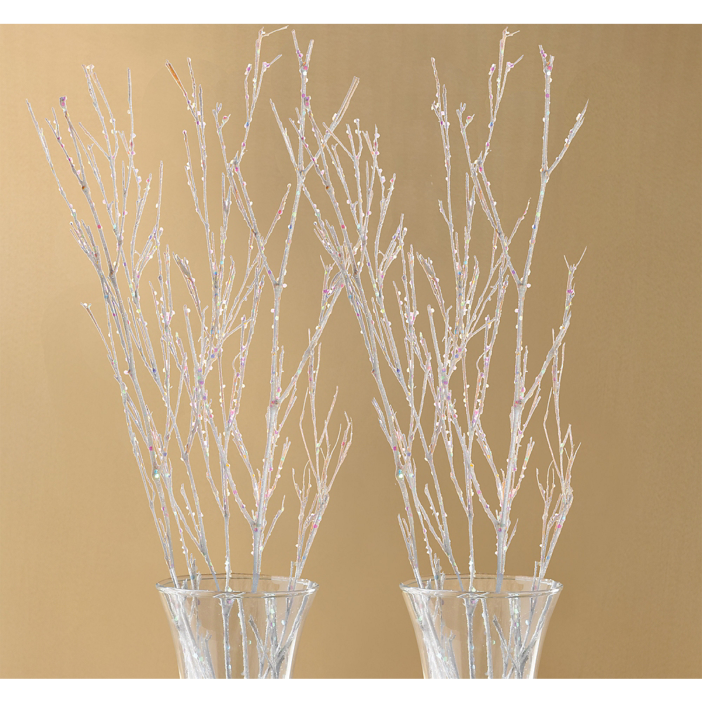 Glitter White Branches 4ct Image #1