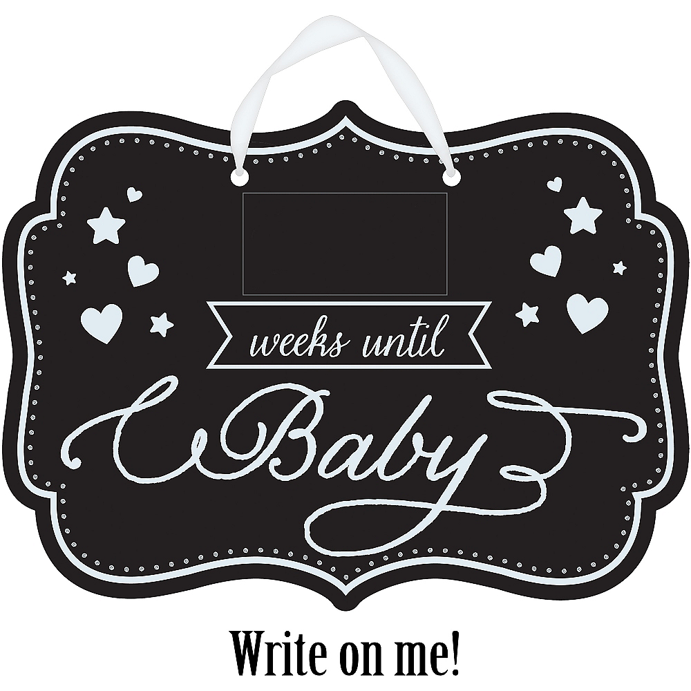 Baby Shower Baby Countdown Chalkboard Sign Image #1