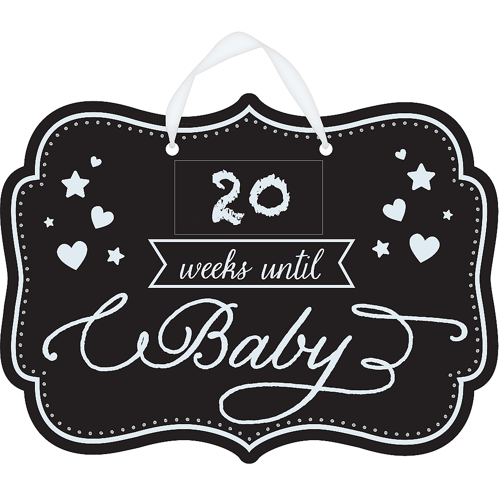 Baby Shower Baby Countdown Chalkboard Sign Image #2