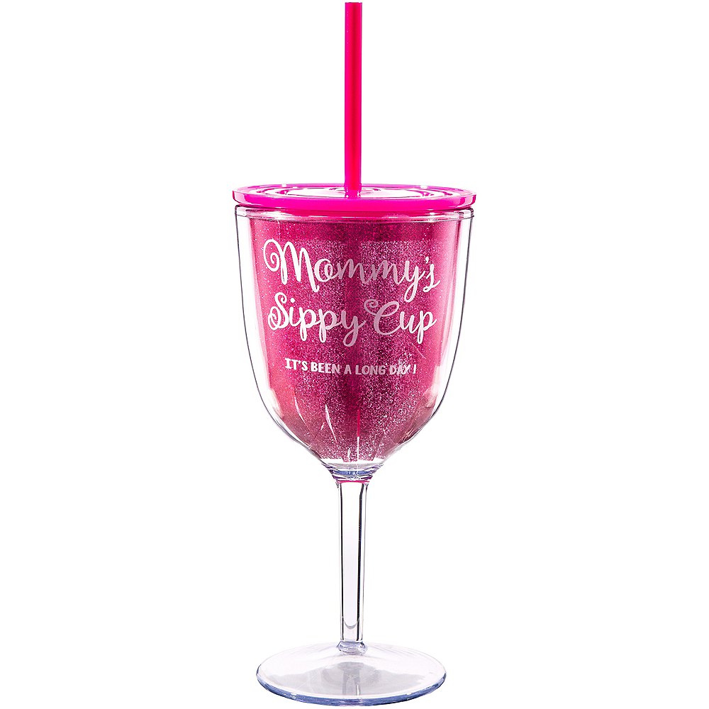 Glitter Pink Mommy's Sippy Cup Wine Tumbler Image #1