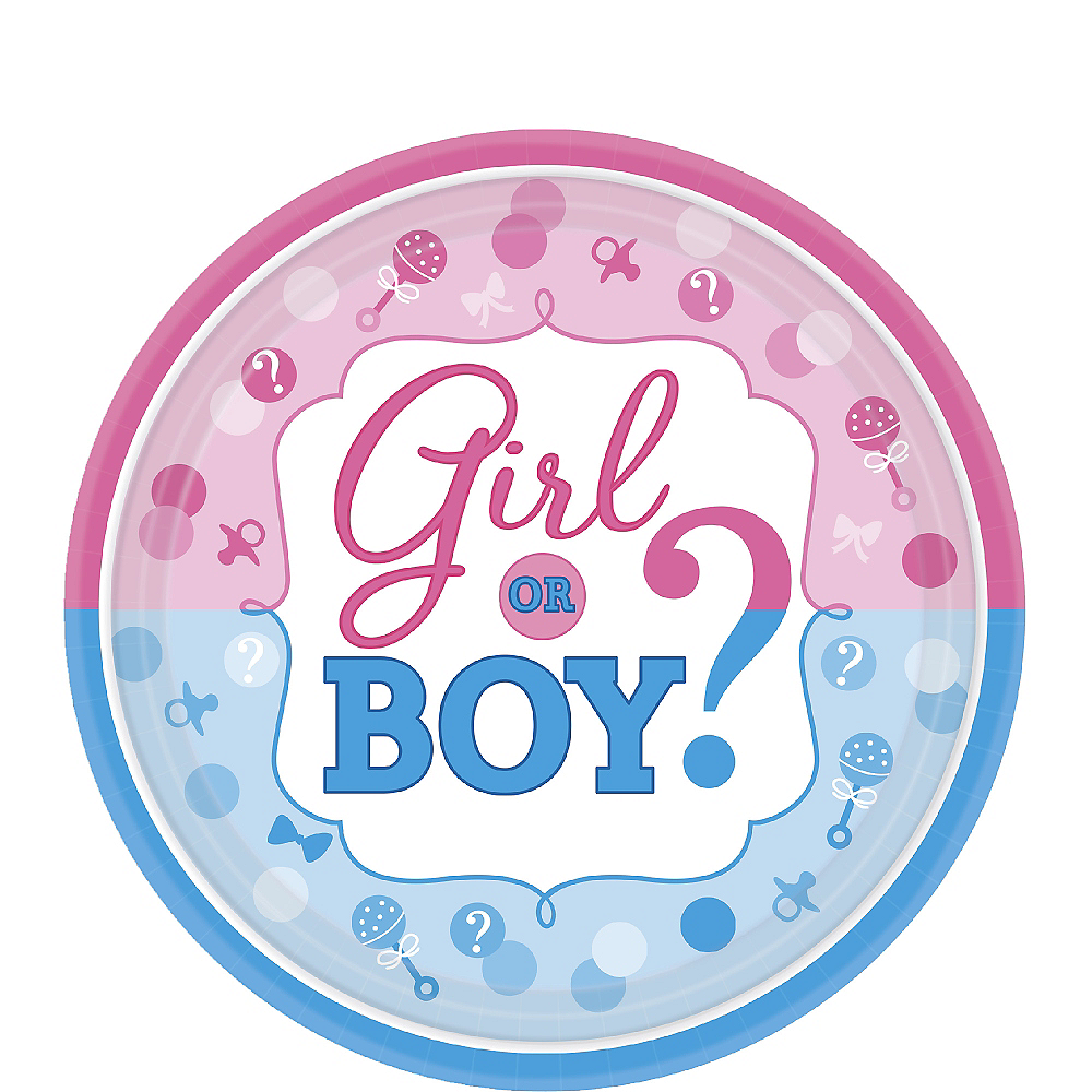 Girl or Boy Gender Reveal Dessert Plates 8ct Image #1