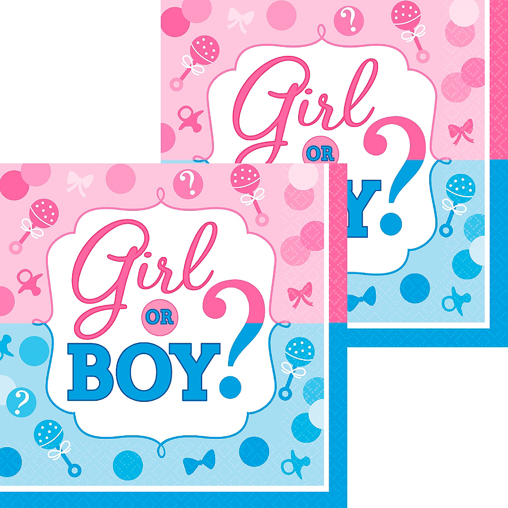 Girl or Boy Gender Reveal Beverage Napkins 16ct Image #1