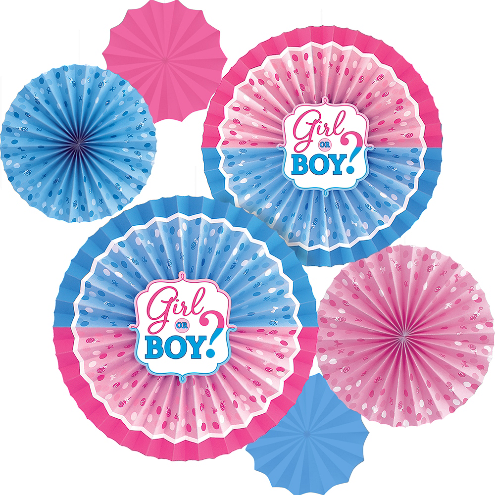 Girl or Boy Gender Reveal Paper Fan Decorations 6ct Image #1