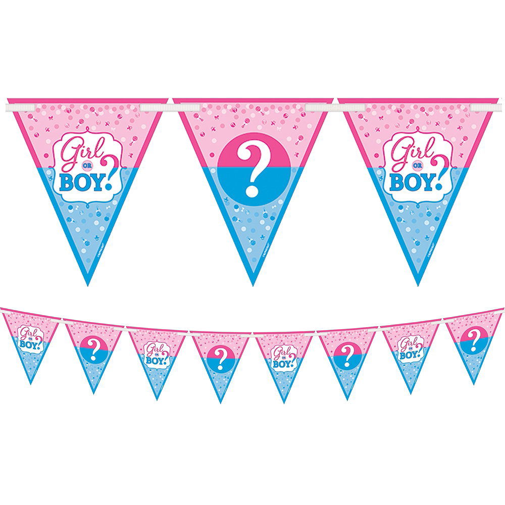 Girl Or Boy Gender Reveal Pennant Banner 15ft Party City