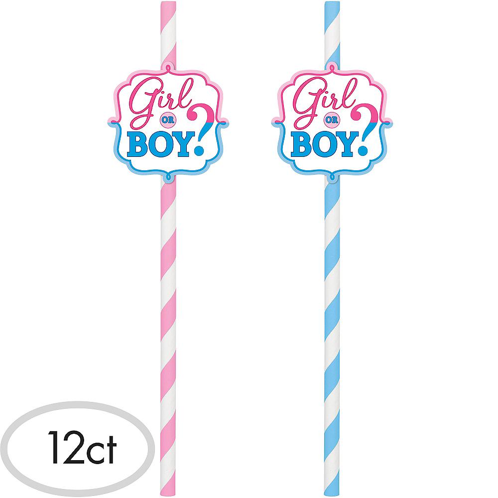 Girl or Boy Gender Reveal Paper Straws 12ct Image #1