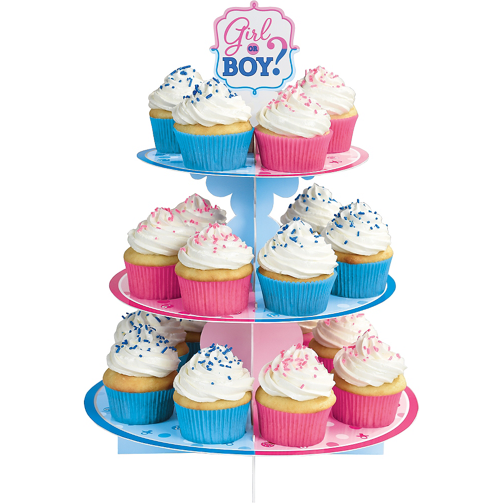 Girl or Boy Gender Reveal Cupcake Stand Image #1