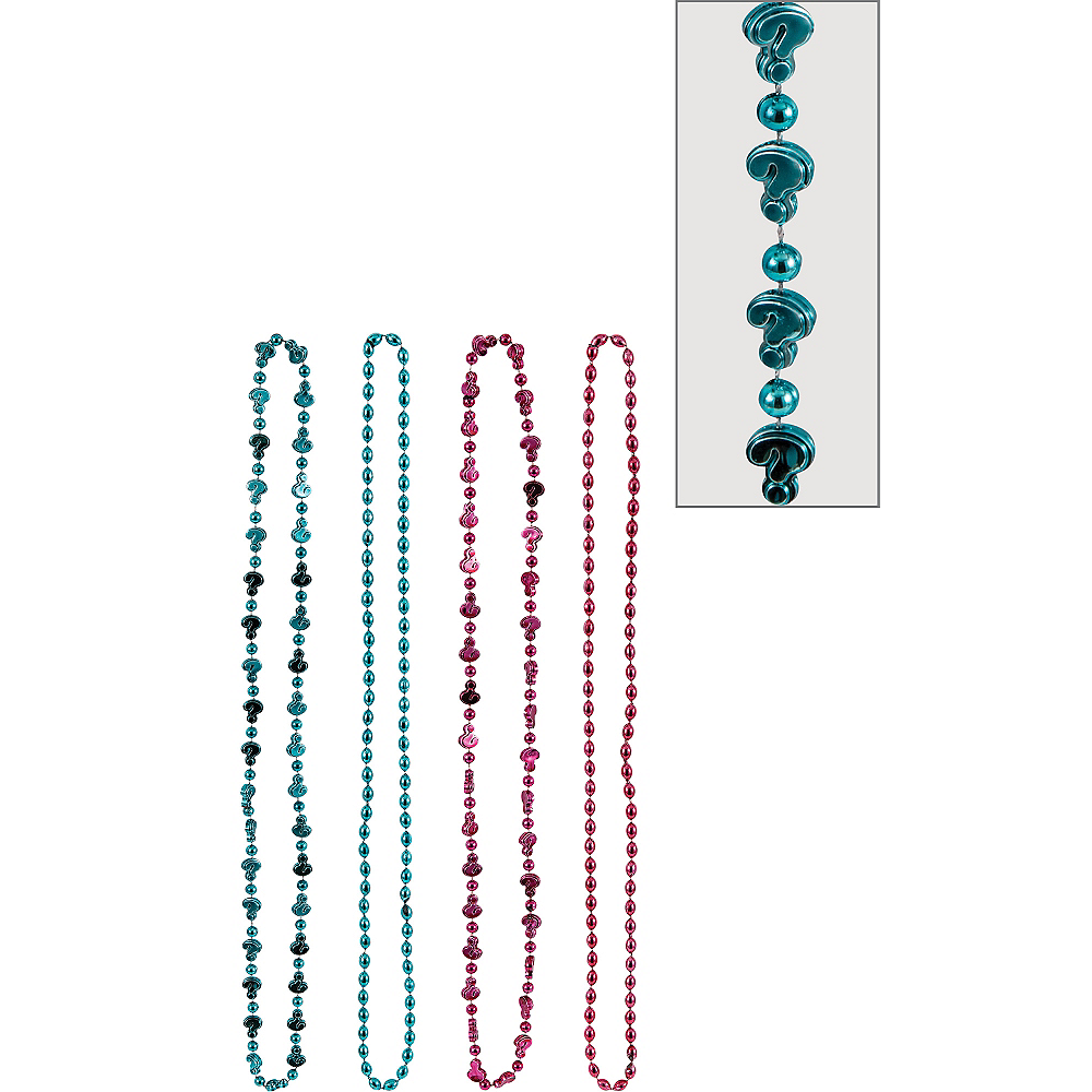 Girl or Boy Gender Reveal Bead Necklaces 10ct Image #1