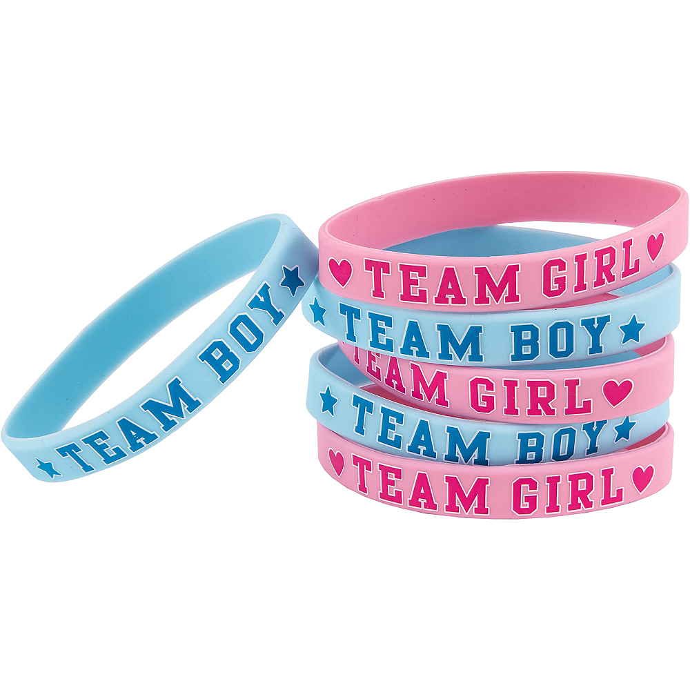 Girl or Boy Gender Reveal Wristbands 6ct Image #1