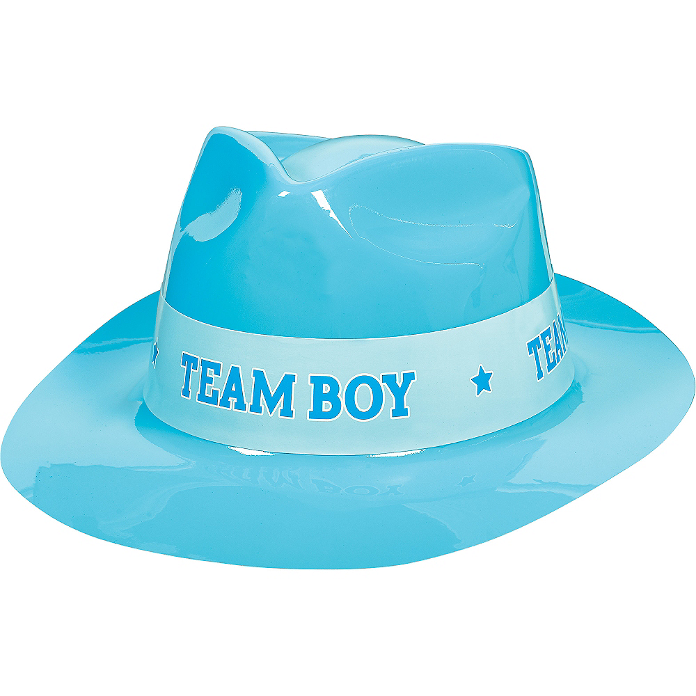 Team Boy Plastic Fedora - Girl or Boy Gender Reveal Image #1