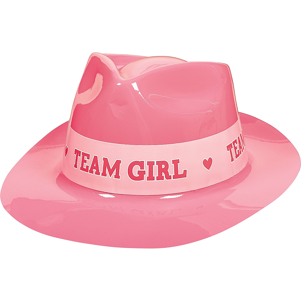 Team Girl Plastic Fedora - Girl or Boy Gender Reveal Image #1